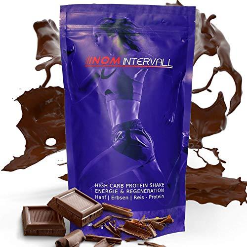 NOM Intervall Protein Pulver Schokolade - Hochwertiger Eiweißshake für den Muskelaufbau - leicht verträgliches Proteinpulver - Veganes Erbsen, Reis und Hanfprotein (400g)