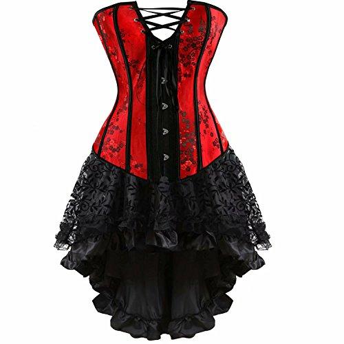 Josamogre Mujer Sexy Corset Gótico Encaje Vestido de corsé Bustiers Falda Asimetría Burlesque Halloween Rojo 6XL