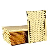 Fuxury Fu Global #000 Gold Metallic Christmas Bubble Mailers 4x8 Inches Self Seal Classy Padded Envelopes Pack of 50 (Gold, 4x8)