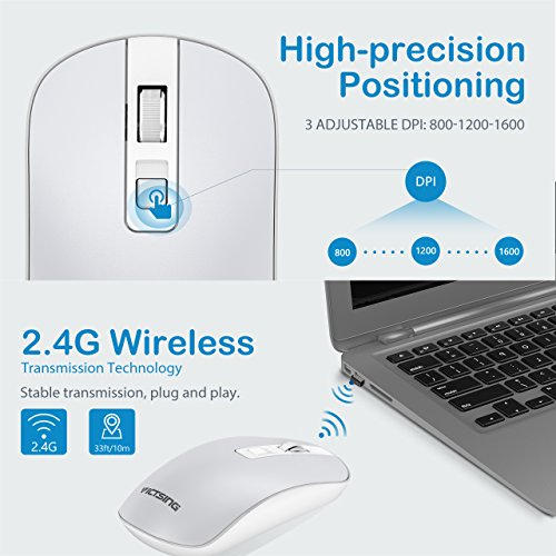 VicTsing 4-Button Slim Silent Wireless Mouse,3 Adjustable CPI Levels,Silent Click with USB Nano Receiver and ON-Off Switch for PC, Laptop, Computer,Silver