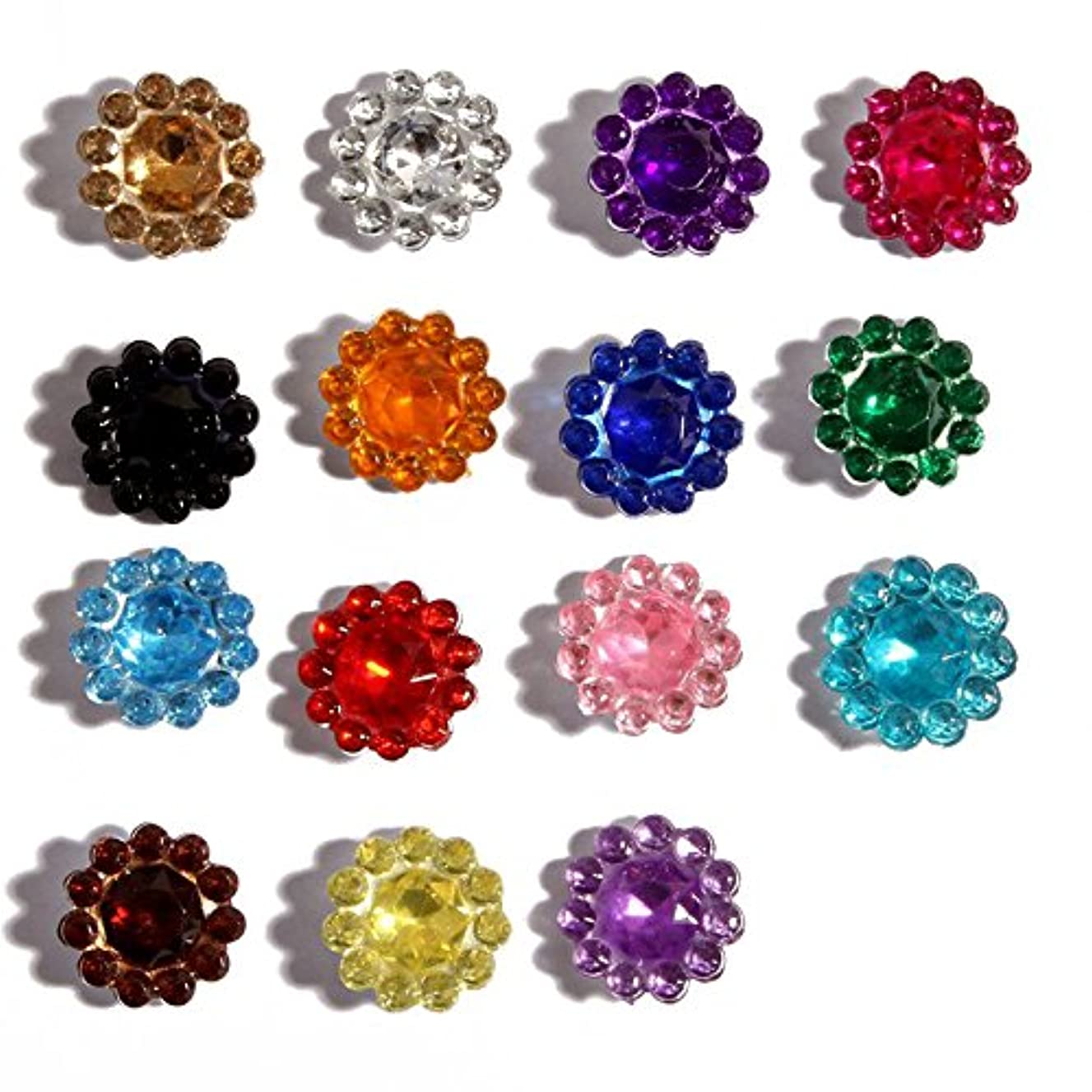 Masokan Mini Point Back Flower Acrylic Rhinestones Gemstone Embellishment for DIY Craft Supplies (0.44 Inches Diameter, Mix 15 Colors, Pack of 1000 PCS)