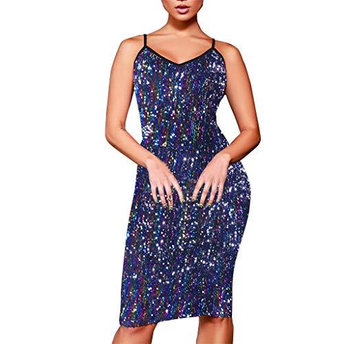 Damen Kleider Sommer Ronamick Frauen Sexy figurbetontes Kleid Sling Abendgesellschaft Pailletten-Kleid Kleid Abendkleid cocktailkleider Petticoat(XL, Blau)