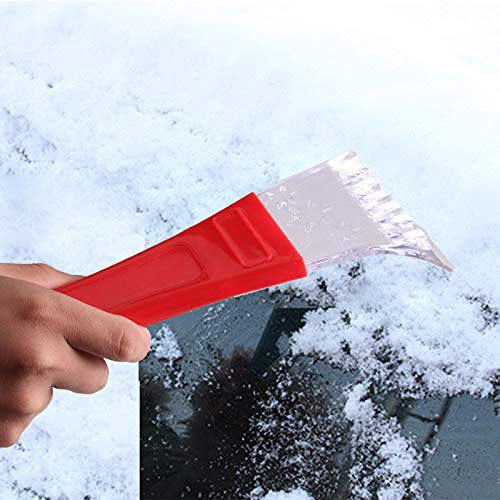 CapsA Car Vehicle Snow Ice Scraper Shovel Removal Brush Winter Car Auto Vehicle Hammer Snow Ice Scraper Squeegee Combination Head Car Accessories Portable Windshield Cleaning Tool (Red)