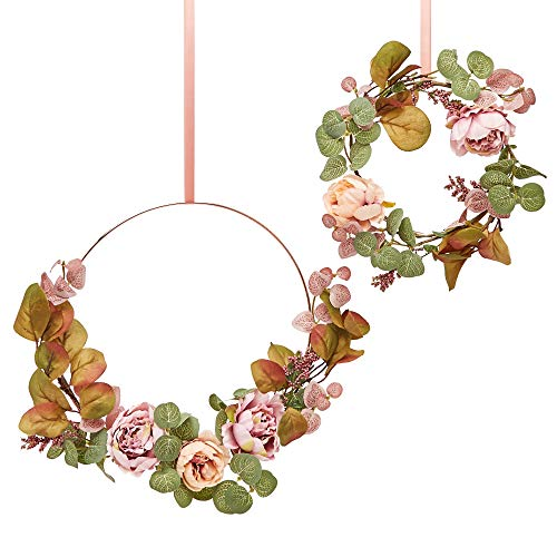 RozeUp Floral Hoop Wreath Set - Peony Wreath for Wall Decor, Floral Room Decor, Nursery Wreath Girls, Wedding Wreath Decorations, Small Wreaths for Indoor and Outdoor, Matching Mini Wreath Candle Ring