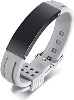 MEALGUET Personalized Silicone and Stainless Steel Belt Buckle Comfort ID Bracelet Custom Engrave Rubber ID Wristband
