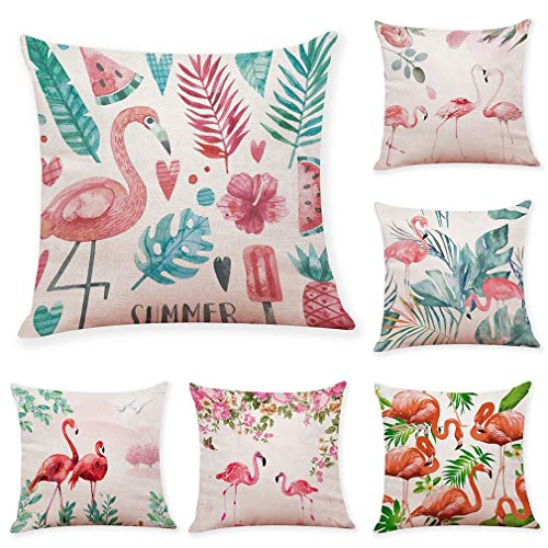 Cojín Flamingo colorido de lino de algodón suave almohadilla de tiro de la caja del coche del sofá de la sala accesorios decorativos Home Decor cama 45 x 45 cm, 18 x 18 pulgadas Conjunto De 3/6 252