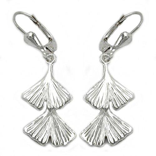 Mya Art Schmuck 925 Silber Damen Ohrstecker Ohrringe Stecker mit Ginko Blatt Doppelt