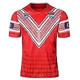 HUUH 2019 Japon Coupe du Monde de Rugby Maillots Tonga Maillot de Football Polo Chemise, Compétition Formation Sweat Broderie Fibre de Polyester à séchage Rapide Respirant Cadeau parfait-red2-XL