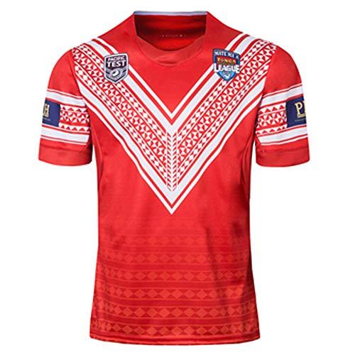 AUUA Rugby-Trikots 2019 Japan World Cup Tonga Fußballtrikot, Sportbekleidung Trainingsanzug Polyester Schnelltrocknend Atmungsaktiv, Geeignet für Studenten Kinder Erwachsene-red2-L