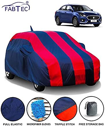 Fabtec Car Body Cover for Maruti Swift Dzire 2018 with Mirror Antenna Pocket & Storage Bag Combo (Red & Blue)