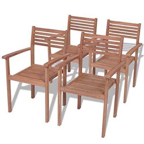 SENLUOWX Stapelstühle für Außen Teak Holz, 4Stück