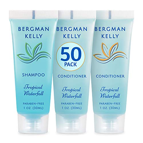 BERGMAN KELLY Travel Shampoo and Conditioner Set (1 fl oz, 100 Pieces, Tropical Waterfall), Delight Your Guests with an Invigorating and Refreshing Hotel Toiletries and Guest Hospitality in Bulk