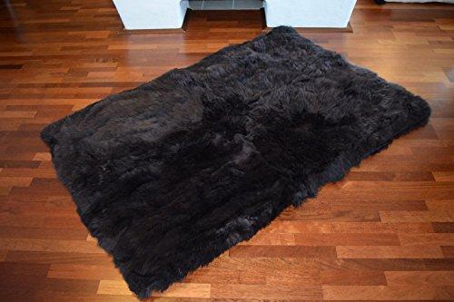 Naturasan Design Öko Schaffell-Teppich 150 x 200, Hochflor Langflor, Shaggy, Flokati, Lounge Fellteppich Lammfellteppich (Braun)