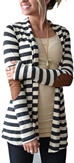 Women's Black White Elbow Patch Shawl Collar Striped Open Front Cardigan Sweaters