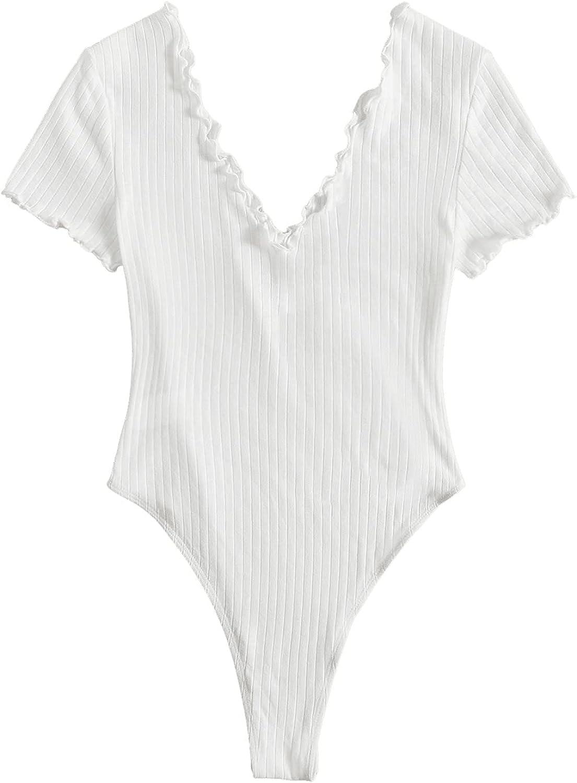 Milumia Women's V Neck Short Sleeve Ribbed Knit Lettuce Edge Bodysuit Leotard