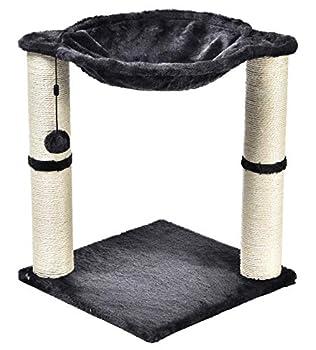 AmazonBasics Arbre à chat en forme de tour avec abri, lit hamac et griffoir - 41 x 51 x 41 cm, Gris