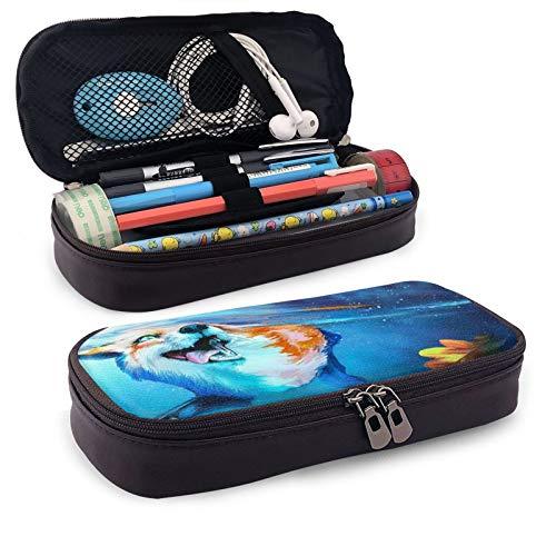 Fox Swim Under Water - Estuche de piel de gran capacidad para lápices de estudiantes, bolsa de almacenamiento