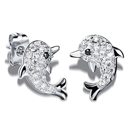 kanggest Orecchini da donna moda ragazza nuovo stile lucido vetro delfino orecchini creoli orecchini per donne di La gioielli accessori, 1paio