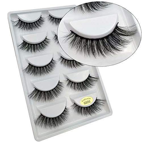 Coollooda Makeup Extension 5 Pair Pack 3D False Eyelashes Natural Thick Handmade Fake Eye Lashes G806