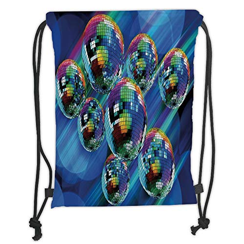 Fevthmii Drawstring Backpacks Bags, 70s Party Dekoration, Colorful Funky Vibrant Disco Balls Abstract Night Club Dancing Theme, Multicolor Soft Sat,5 Liter Kapazität, Adjustable St