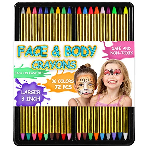 "72 Pack 36 Color Face and Body Paint Crayon 3"", Safe Non-Toxic Painting Crayons Stick for Party Favors, Halloween, Birthday, Easter, School Carnival Makeup Marker Gift Set for Child Kid Boy and Girl"