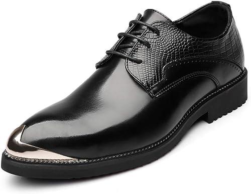 LYZGF Hommes Jeunes Décontracté Retro élégant Marié Pointu Lacé Chaussures en Cuir