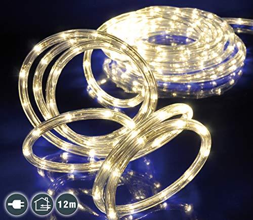 LED Lichterschlauch 12 m mit 240 warm-weißen LEDs für Innen und Außen
