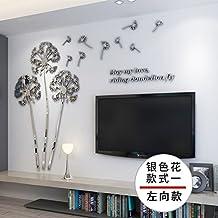 ZRDMN Etiqueta de la Pared Espejo de Diente de león Cristal 3D Acrílico Superficie sólida de la Pared, Plata en la Izquierda es una pequeña, Se Pueden Quitar los murales de Arte para el Dormitorio