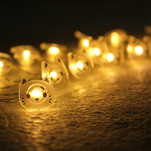 MUMENG String Light Warm White 20 LEDs Lovely Cat Decoration Lighting Battery Power Easy Installment for Indoor Outdoor Wedding Festoon Party