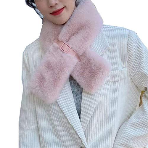 GFBVC Bufanda De Invierno Otoño e Invierno protección Cuello cálido Bufanda Mujeres Cruz Scarf Invierno Espeso Peluche Estudiante Babero Mujer esponjosa Calentar (Color : Pink, Size : 85x13cm)