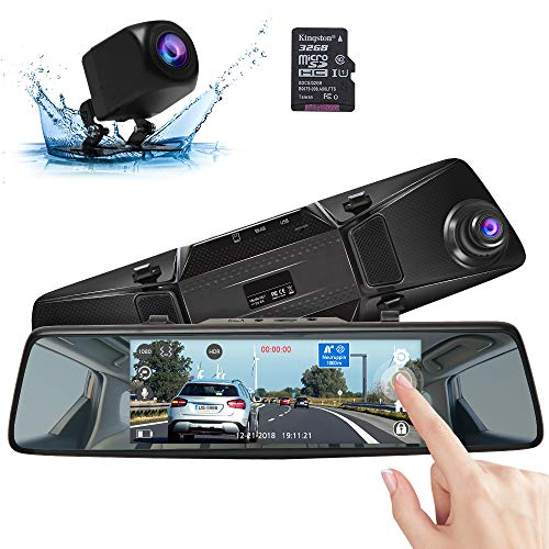 "AKASO Mirror Dash Cam with Backup Camera, 1080P Dual Dash Camera for Cars 7"" Stream Media Touchscreen DVR with 32GB Card Front Rear Reversing Image G-Sensor Loop Record Parking Monitor(DL7)"