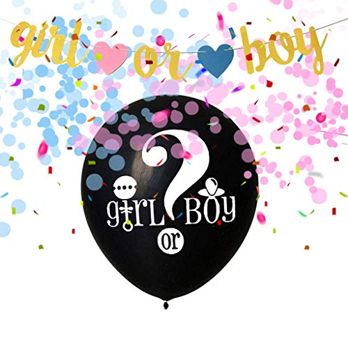 Amycute Baby Shower Party Girl Dekoration Set Boy or Girl Banner und Geschlecht Offenbaren Ballons Set für Baby Shower Baby Dusche Girlande Dekoration, Party Foto Requisiten und Baby Deko.