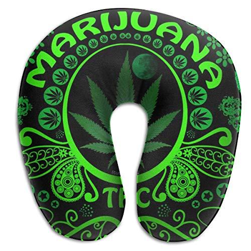 Almohada en Forma de U, Cuello, Marihuana Verde, Viaje, Almohada Multifuncional, Coche, avión