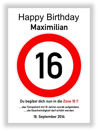 Verkehrsschild - Bild - 16. Geburtstag - Wunschname - personalisiertes Geschenk - Kunstdruck - Geschenkidee