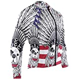Men's Cycling Jersey French Bulldog Tribal Feathers American Flag Long Sleeve Riding Tops Bike Jacket