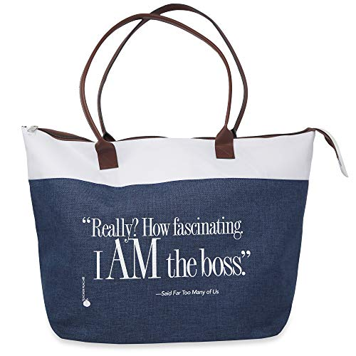 I Am the Boss Zippered Fabric Tote Bag, Gift for Women Execs, Leaders, Moms (Blue)
