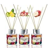 Binca Vidou Set di bastoncini profumati per ambienti, profumatori per ambienti con mela, fragola, limone, aromaterapia, 50 ml x 3