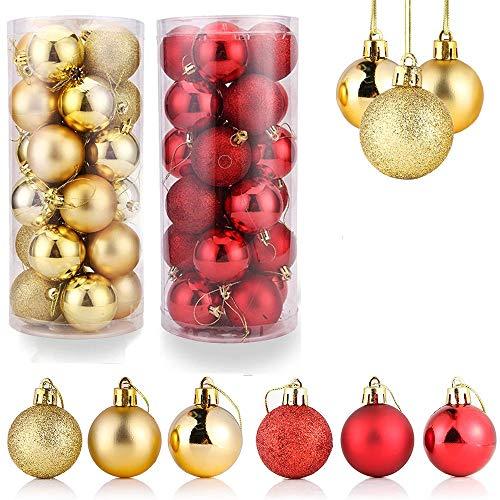 Boules de Noël,Boule de Décoration D'arbre de Noël,Boule de Noël Ornements,Lot Déco Noël,Décoration Sapin Noel Rouge,Boules de Noël Rouge,Boules de Noël Doré