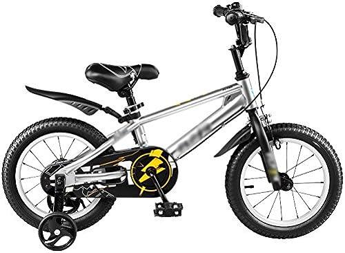 Feifei Kinder Fahrrad Kinderwagen 12 14 16 18 Zoll Mountainbike Blau Silber Grün Umweltschutz Materialien Mode Sicherheit (Farbe   Silber, Größe   14 inch)