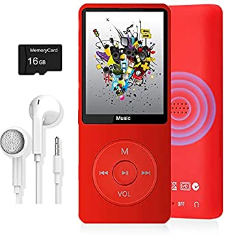 MP3 Player Music Player with 16GB Micro SD Card Build-in Speaker/Photo/Video Play/FM Radio/Voice Recorder/E-Book Reader Supports up to 128GB