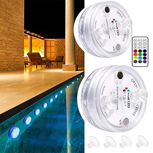 2PCS Piscina Luz LED Impermeables,16 color RGB Luces Sumergibles,Control Remoto Bajo El Agua Luces Multicolores LED Luz Sumergible para Acuario,Estanque,Bodas,Fiesta Jardín
