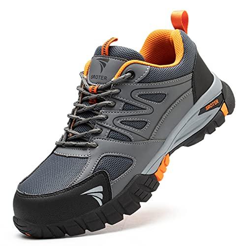 YISIQ Zapatos de Seguridad Hombre Mujer Punta de Acero Zapatos Ligero Zapatos de Trabajo Respirable Botas de Seguridad Zapatos de Industria y Construcción, Gris, EU 41