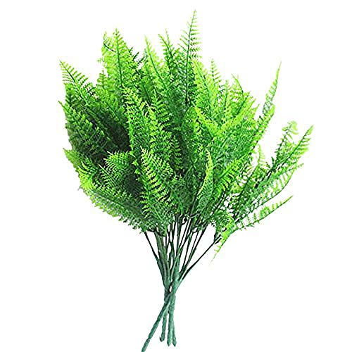 YGSAT 4 Pcs Persian Grass Fern|Artificial Bushes| Artificial Fern Grass Plastic green Plant|Fake Flower Plants - Ideal for Indoor Outside Home Garden Office Table Verandah Decoration Party Wedding