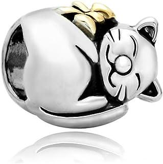 ReisJewelry Good Luck Twins Cat Charms Animal Charm Beads for Bracelet