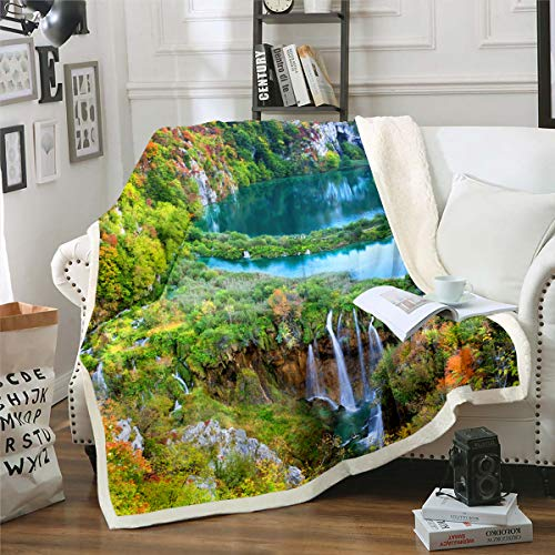 Tbrand Natur unter dem Motto Kuscheldecke 150x200cm Wasserfall See Bedruckt Decke Wald Wald Druck Bäume Natürliche Landschaft Kunst Mikrofaser Wohndecke