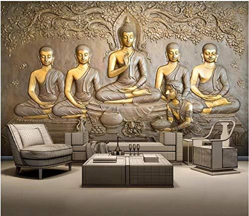 Fototapete 3D Effekt Vlies Design Tapete Bilder Wandbild Modern Dekoration Geprägte Goldene Buddha-Statue Fototapete Schlafzimmer Wandbilder Wohnzimmer