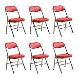 YANGFH Silla Plegable de Oficina Silla de jardín al Aire Libre Banquete de Boda Evento Muebles Silla Conjunto de 6 Silla (Color : Red)