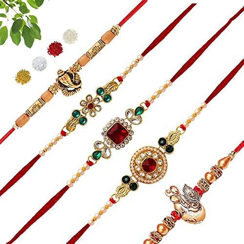 BANDHAN Kundan Gold Plated Rakhi for Brother/bhaiya bhabhi Combo (Pack of 5)   Bracelet Designer Rakhi