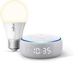 Echo Dot with clock (Sandstone) Bundle with Sengled Wi-Fi Smart Bulb