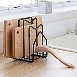 DAFUYUAN Cutting Board Pot Lid Holder Rack Kitchenware Organizers And Storage Metal Accommodates Sized Up To 0.85-1.2''W (Black)